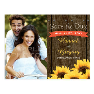 CORAL RUSTIC SUNFLOWER SAVE THE DATE POSTCARD