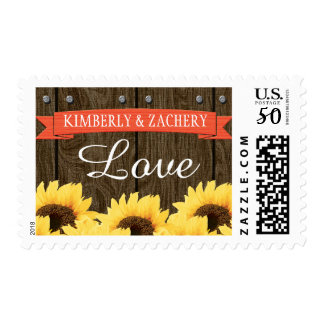 CORAL RUSTIC SUNFLOWER WEDDING LOVE POSTAGE