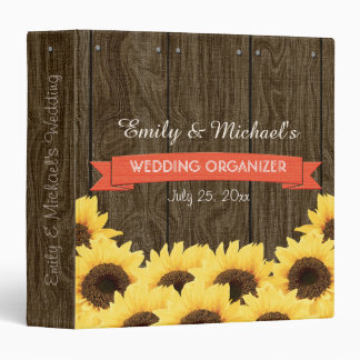 CORAL RUSTIC SUNFLOWER WEDDING ORGANIZER 3 RING BINDER