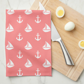 Coral Sailboats and Anchors Pattern Towel