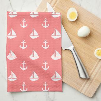 Coral Sailboats and Anchors Pattern Towels