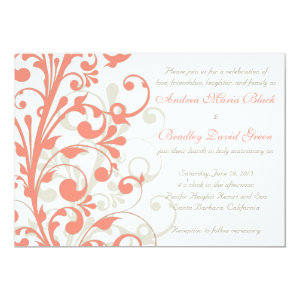 Coral, Sand Tan, White Floral Wedding Invitation 5