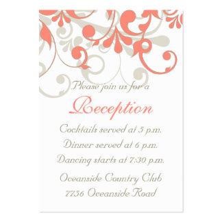 Coral, Sand Tan, White Floral Wedding Reception Large Business Card