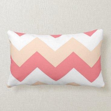Aztec Themed Coral, Sand & White chevron lumbar pillow