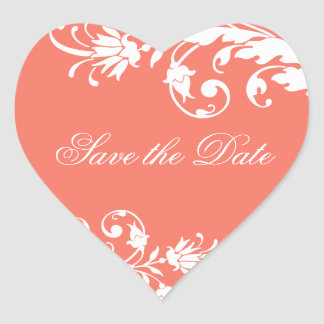 Coral Save the Date Heart Shaped Stickers