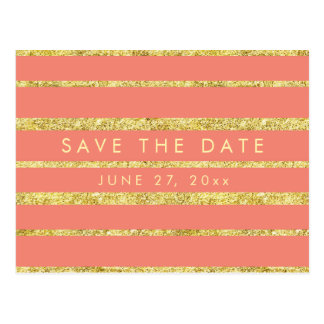 Coral Save The Date Postcard With Gold Foil Effect