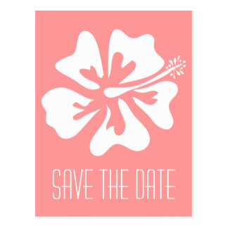 Coral save the date postcards with Hibiscus flower