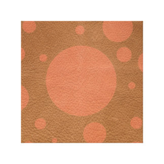 Coral Scattered Spots on Tan Leather Texture Canvas Print