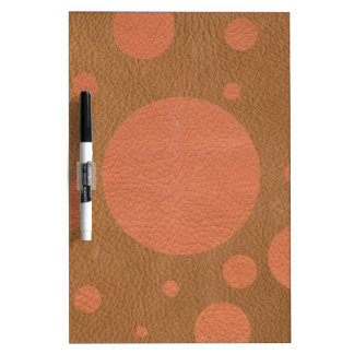 Coral Scattered Spots on Tan Leather Texture Dry Erase Whiteboards