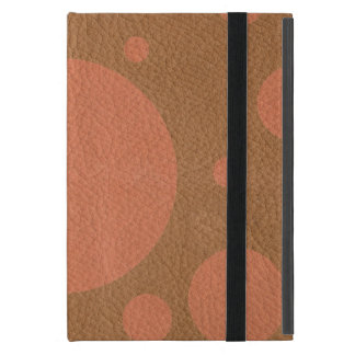Coral Scattered Spots on Tan Leather Texture iPad Mini Cases