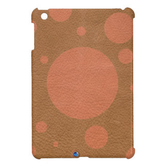 Coral Scattered Spots on Tan Leather Texture Cover For The iPad Mini