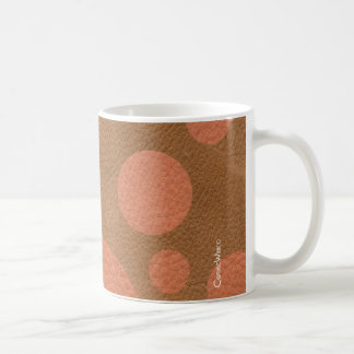 Coral Scattered Spots on Tan Leather Texture Classic White Coffee Mug