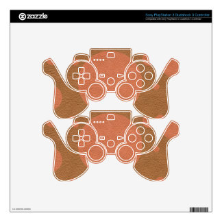 Coral Scattered Spots on Tan Leather Texture Skin For PS3 Controller