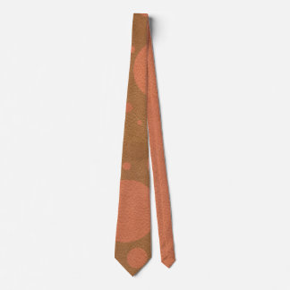 Coral Scattered Spots on Tan Leather Texture Tie