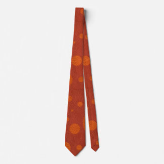 Coral Scattered Spots on Tangerine Leather Texture Tie