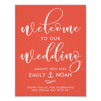 Coral Script Nautical Wedding Welcome Sign Poster