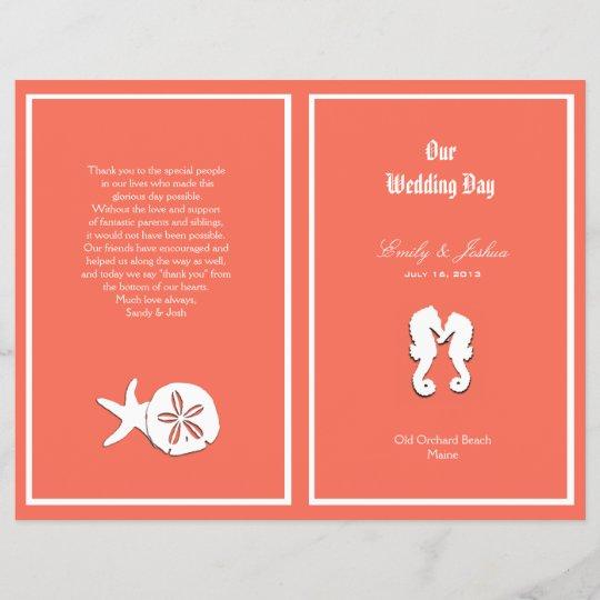 C Sea Life Beach Wedding Program Template
