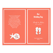 Coral Sea-life Beach Wedding Program Template