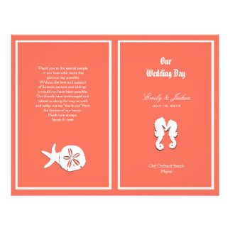 Coral Sea-life Beach Wedding Program Template
