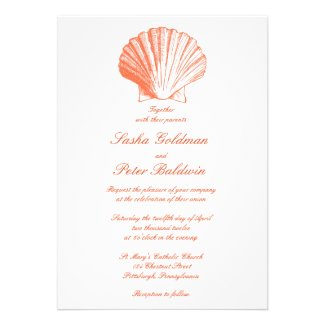 Coral Sea Shells Wedding Invitation