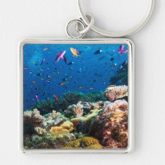 Coral Sea Square Keychain