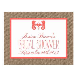 Coral Seahorse Beach Bridal Shower Recipe Cards