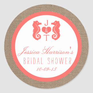 Coral Seahorse Burlap Beach Bridal Shower Stickers