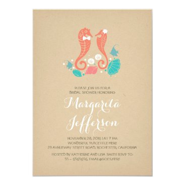 Valentines Themed coral seahorse couple cute bridal shower invite