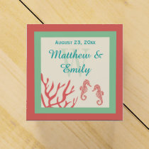 Coral Seahorse Destination Wedding Favor Boxes