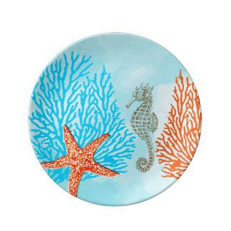 Coral/seahorse/estrellas de mar de PixDezines Plato De Cerámica