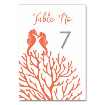 Beach Themed Coral Seahorse Table Number Cards