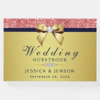 Coral Sequins Gold Navy Diamonds Bow Wedding Guest Book