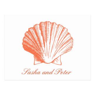 Coral Shell Beach Wedding RSVP Postcard