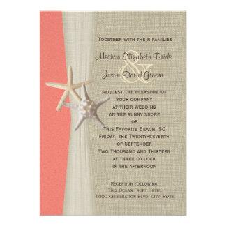 Coral Shell del boda de playa de las estrellas de  Invitación