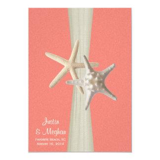 """Coral Shell del boda de playa de las estrellas de Invitación 5"""" X 7"""""""