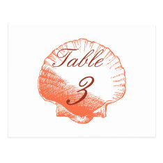 Coral Shells Beach Wedding Table Number Cards at Zazzle