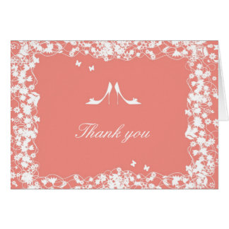 Coral Shoes Bridal Shower Thank You Card