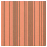 [ Thumbnail: Coral & Sienna Colored Lined/Striped Pattern Fabric ]