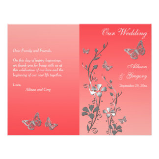 Coral Silver Butterfly Floral Wedding Program 2
