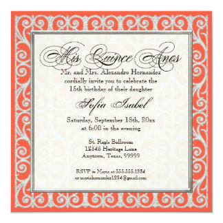 Coral & Silver, Diamonds & Lace, Mis Quince Anos Card