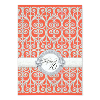 Coral & Silver Diamonds & Lace, Sweet Sixteen 16 Card