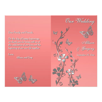 Coral Silver Gray Butterfly Floral Wedding Program