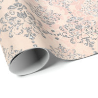 Coral Silver Peach Gray Metallic Blush Damask Pink Wrapping Paper