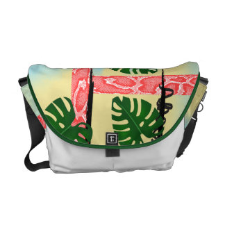 Coral Snakeskin Tropical Leaves Courier Bag
