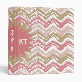 Coral Spice Scribble ZigZag Chevron Pattern 3 Ring Binder