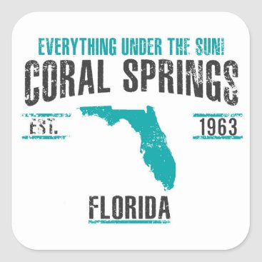 USA Themed Coral Spings Square Sticker