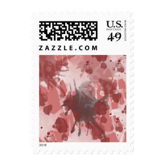 Coral Splash Paint Splatters Postage Stamp