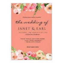 Coral Spring Floral Wedding  Leaf Invitation