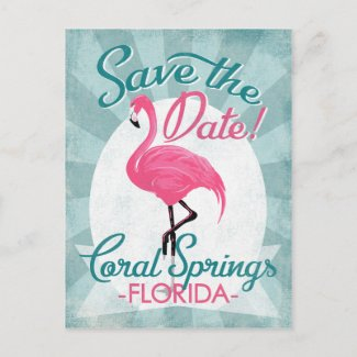 Coral Springs Save The Date Pink Flamingo Announcement Postcard