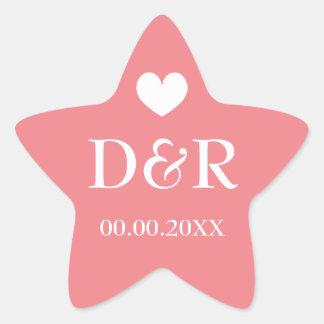 Coral star monogram beach wedding favor stickers